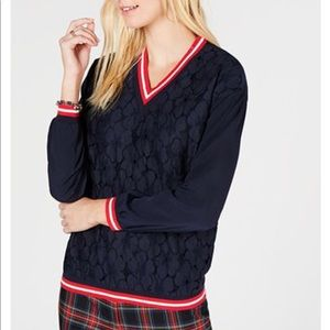 Tommy Hilfiger Lace Overlay Preppy V-Neck Top M
